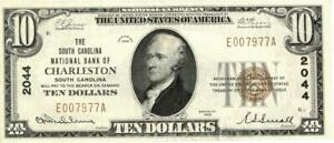 South Carolina Charleston $10 South Carolina National Bank Currency 1929 AU