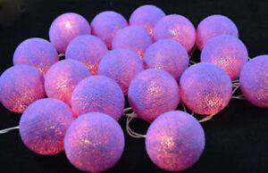 30 LED Cassis Purple 5cm Ball Night Light Girl Bedroom Party Decor Gift Birthday