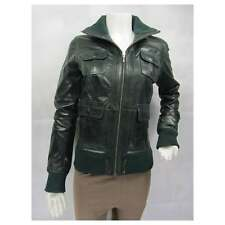 Ladies Green Glaze Leather Slim Tight Fitted Short Biker Fashions Jacket Bike