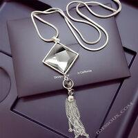 Damen Halskette Schmuck Collier Anhänger Silber lang Kette Mode Strass Luxus 35€