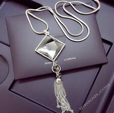 Damen Halskette Schmuck Collier Anhänger Silber lang Kette edel Strass Luxus 35€