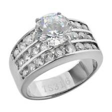 Zirconia Women's Wedding Engagement Ring Stainless Steel Round Cut Cubic