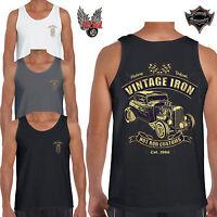 Mens Hotrod 58 Vest Top Vintage Iron Rat Rod American Classic Car Clothing 62