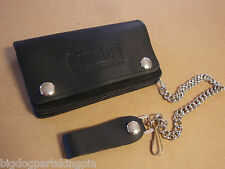 "BIG DOG MOTORCYCLES OILED LEATHER CHAIN WALLET 6"" W/ LOGO MADE IN USA SNAP BDM"