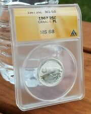 1967 CANADA 25 TWENTY FIVE CENTS ANACS MS 68 PROOF LIKE CAMEO BOBCAT LYNX ☆