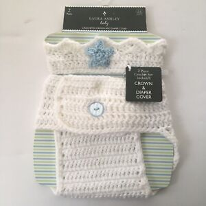 Laura Ashley White Knitted Baby Girl Crown & Diaper Cover Size 0-6 M NEW