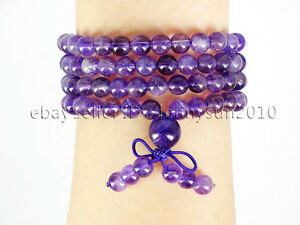 Natural 6mm Gemstone Buddhist 108 Beads Prayer Mala Stretchy Bracelet Necklace