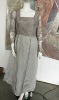 Silver Grey Vintage Lace Black Tie Event Crystal Long Gown Dress SZ Small