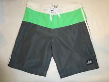 NWOT Lost Board Shorts Swimsuit Sz 32 Block Colors Quick-Dry Fabric Green & Grey