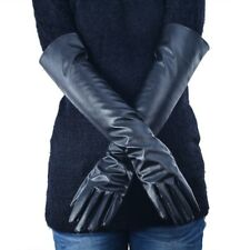 Faux Leather Elbow Gloves Winter Women's Long Gloves Warm Lined Finger Gloves