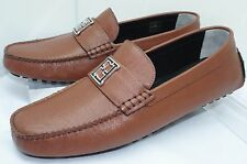 New Fendi Mens Shoes Mocassino Drivers Size 10 Brown Saffiano Loafers