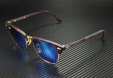 RAY BAN RB3016 114517 Clubmaster Sand Havana Gold Grey Mirror Blue 49 Sunglasses