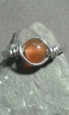 Natural Carnelian Gemstone Silver Wire Wrapped Ring ANY SIZE