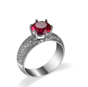 Fire Classic Round Red Kunzite Full Zirconia Silver Rings Size 6~10 Holiday Gift