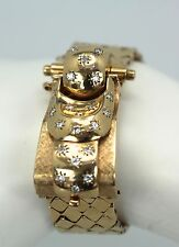 Retro 1940's Ladies Diamond Covered Wristwatch 14K Yellow Gold