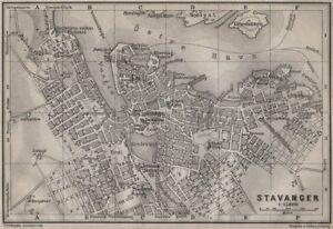 STAVANGER antique town city byplan. Norway kart. BAEDEKER 1912 old map