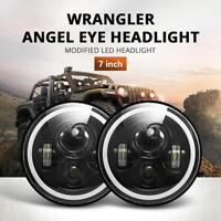 2x 7inch Round LED Headlight Hi/Low Halo Angle Eye For Jeep Wrangler JK 97-17
