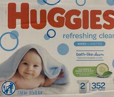 HUGGIES Refreshing Clean Baby Wipes 2 refills, 352 Total Wipes- New