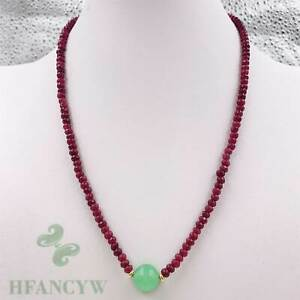 Round Green Jade Bead Pendant Ruby Necklace 18 Inches Wedding Real Hang Chain