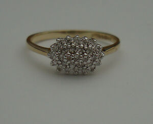 0.29ct DIAMOND 9CT YELLOW WHITE GOLD CLAW ENGAGEMENT ETERNITY OVAL CLUSTER RING