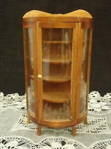 Vintage SHACKMAN Miniature Dollhouse Handcrafted Hardwood Glass  Curio Cabinet