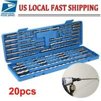 20Pcs SDS Rotary Hammer Drill Bits Chisel Concrete Tool Set with Blue Tool Box