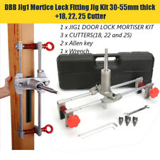 6X Mortice Door Fitting Jig Lock Mortiser Allen Key Kit JIG1 With 3 Cutters