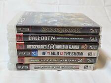 PS3 6 Video Game Lot Starhawk COD 4 Mercenaries 2 MLB 12 The Show COD MW2 PES 12