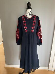 ZARA Beautiful Blue & Red Embroidered Long Sleeve Vintage Style Midi Dress Sz XL
