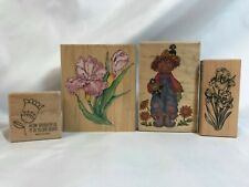 Wood Mounted Rubber Stamps Lot of 4 Garden Flowers