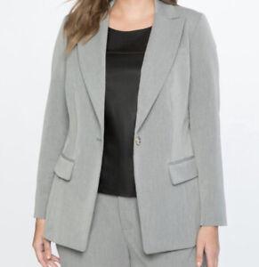 ELOQUII Premier Single Breasted Blazer Sz 20 one Button Notch Lapel Gray Jacket