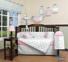 Pink & Gray Chevron Baby Girl Nursery CRIB BEDDING SET 14PCS Including Mobile