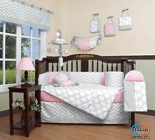 Pink & Gray Chevron Baby Girl Nursery CRIB BEDDING SET 14PCS Including Mobile