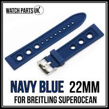 22mm Azul Marino Goma Reloj Correa de pulsera de silicona para Breitling Modelos - 22mm