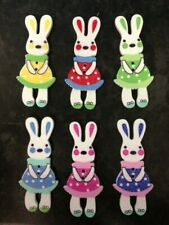 10 Wooden Bunny Rabbit Buttons Easter Card Making Scrapbook Craft Embellishments