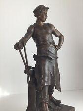 Große alte EMILE LOUIS PICAULT Metall Figur Skulptur LE FER Industrial Antik