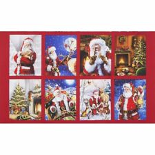 Jolly Saint Nick Panel-Holiday by Robert Kaufman-Santa-Deer-Birds-Fireplace