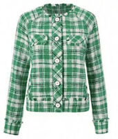 NWT Cabi Library Jacket #5653 Medium Green Plaid Check Spring 2020 $184.00
