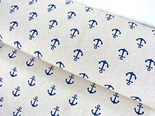 Bezugsstoff Vorhangstoff Stoff Leinen Optik Anker maritim blau beige Meterw.9160