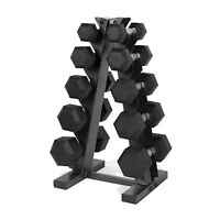 Black A Frame Dumbbell Rack 11 lbs. Rubber Coated Home Gym Organizer Storage