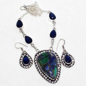 Copper Malachite Blue Topaz Handmade Ethnic Necklace Earrings Set Jewelry GW