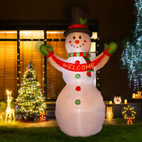 Glitzhome 11.81FT Snowman Welcome Christmas Light Inflatable Airblown Yard Decor