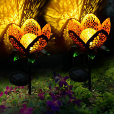 2X Solar Power Flower Light utdoor Yard Warm White Stake Landscape Decora