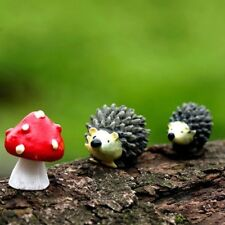 Miniature Hedgehog Mushroom Fairy Garden Ornaments Figurine Dollhouse Decoration