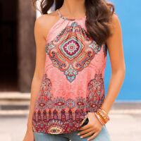 Women's Summer Vest Top BOHO Sleeveless Blouse Beach Casual Tank Tops T-Shirt