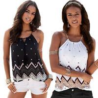 Boho Women Halter Neck Sleeveless Tops Summer Beach Vest Ladies T Shirt Blouse