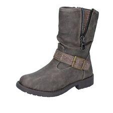 scarpe bambina MANAIRONS stivaletti grigio pelle BT347