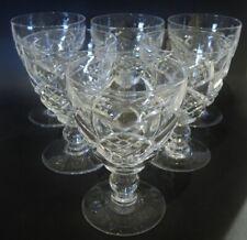 6 Vintage Stuart Crystal Diamond Cut Water or Wine glasses 1926-1950.