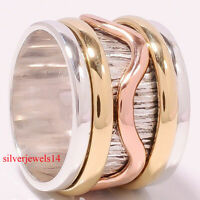 925 Sterling Silver Three Tone Wide Band Meditation Spinner Ring Jewelry se8