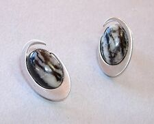 Zebra Jasper Oval Earrings Sterling Silver Unique Frederic Duclos Black New Gift